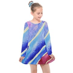 Painting Abstract Blue Pink Spots Kids  Long Sleeve Dress by Pakrebo