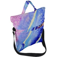 Painting Abstract Blue Pink Spots Fold Over Handle Tote Bag