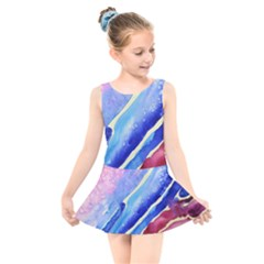 Painting Abstract Blue Pink Spots Kids  Skater Dress Swimsuit