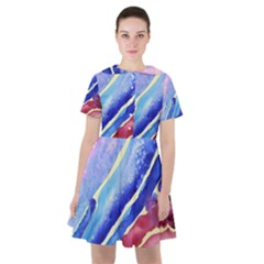 Painting Abstract Blue Pink Spots Sailor Dress