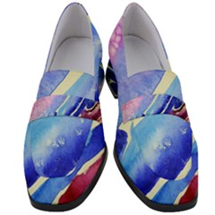 Painting Abstract Blue Pink Spots Women s Chunky Heel Loafers by Pakrebo