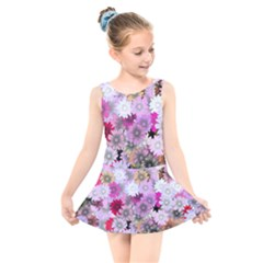 Flower Flowers Carta Da Parati Kids  Skater Dress Swimsuit