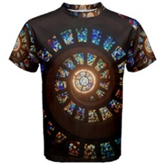 Stained Glass Spiral  Men s Cotton Tee by WensdaiAmbrose