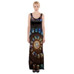 Stained Glass Spiral  Maxi Thigh Split Dress by WensdaiAddamns