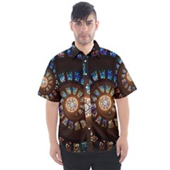 Stained Glass Spiral  Men s Short Sleeve Shirt by WensdaiAddamns