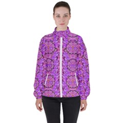 Paradise Blossom Tree On The Mountain High High Neck Windbreaker (women)