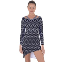 Floral Dot Series - Black And Grey Asymmetric Cut-out Shift Dress by TimelessFashion