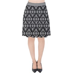 Floral Dot Series   Black And Grey Velvet High Waist Skirt