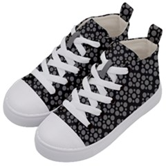 Floral Dot Series   Black And Grey Kids  Mid Top Canvas Sneakers by TimelessFashion
