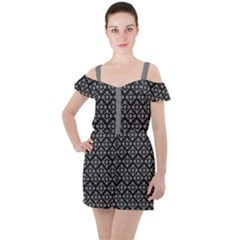 Floral Dot Series   Black And Grey Ruffle Cut Out Chiffon Playsuit