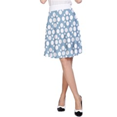 Floral Dot Series - Blue And White A-line Skirt by TimelessFashion