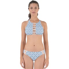 Floral Dot Series   Blue And White Perfectly Cut Out Bikini Set by TimelessFashion