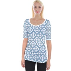 Floral Dot Series   Blue And White Wide Neckline Tee by TimelessFashion