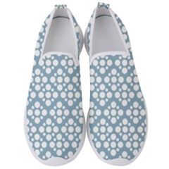 Floral Dot Series   Blue And White Men s Slip On Sneakers by TimelessFashion