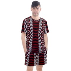 Red & White Stripes  Men s Mesh Tee And Shorts Set