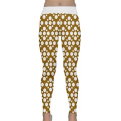 Floral Dot Series - Brown And White Classic Yoga Leggings