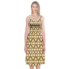 Floral Dot Series   Brown And White Midi Sleeveless Dress