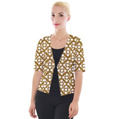 Floral Dot Series   Brown And White Cropped Button Cardigan
