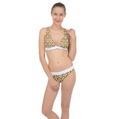 Floral Dot Series   Brown And White Classic Banded Bikini Set