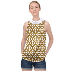 Floral Dot Series - Brown And White High Neck Satin Top