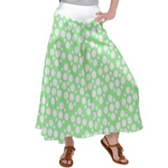 Floral Dot Series - Green And White Satin Palazzo Pants by TimelessFashion