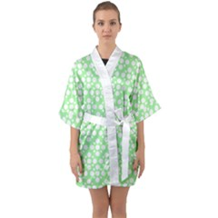 Floral Dot Series   Green And White Quarter Sleeve Kimono Robe
