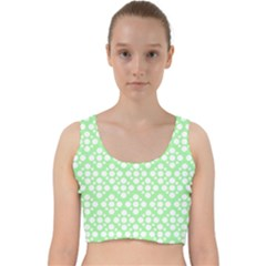 Floral Dot Series - Green And White Velvet Racer Back Crop Top