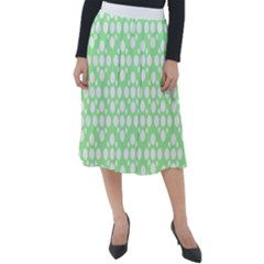 Floral Dot Series - Green And White Classic Velour Midi Skirt