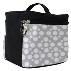 Floral Dot Series   Grey And White Make Up Travel Bag (small) by TimelessFashion