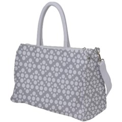 Floral Dot Series - Grey And White Duffel Travel Bag