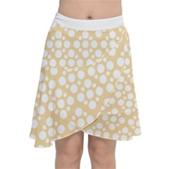 Floral Dot Series - Orange And White Chiffon Wrap Front Skirt by TimelessFashion