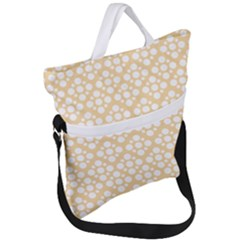 Floral Dot Series   Orange And White Fold Over Handle Tote Bag by TimelessFashion