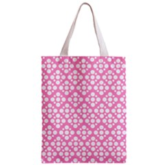 Floral Dot Series   Pink And White Zipper Classic Tote Bag