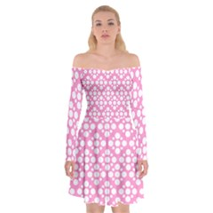 Floral Dot Series   Pink And White Off Shoulder Skater Dress