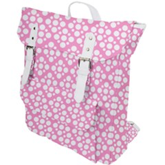 Floral Dot Series - Pink And White Buckle Up Backpack by TimelessFashion