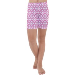 Floral Dot Series - Pink And White Kids  Lightweight Velour Capri Yoga Leggings