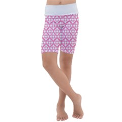 Floral Dot Series   Pink And White Kids  Lightweight Velour Cropped Yoga Leggings by TimelessFashion