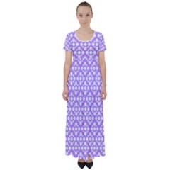 Floral Dot Series   Purple And White High Waist Short Sleeve Maxi Dress by TimelessFashion