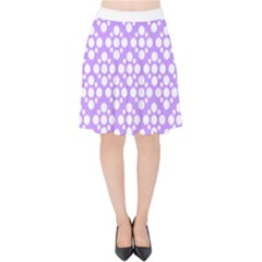 Floral Dot Series   Purple And White Velvet High Waist Skirt by TimelessFashion