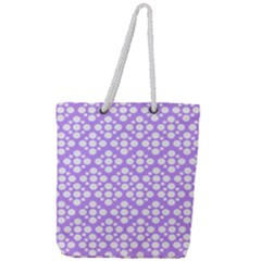 Floral Dot Series   Purple And White Full Print Rope Handle Tote (large)