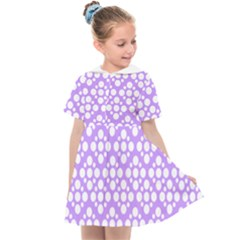 Floral Dot Series   Purple And White Kids  Sailor Dress