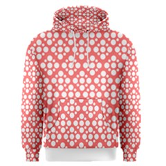 Floral Dot Series   Red And White Men s Pullover Hoodie