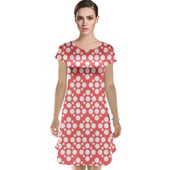 Floral Dot Series   Red And White Cap Sleeve Nightdress