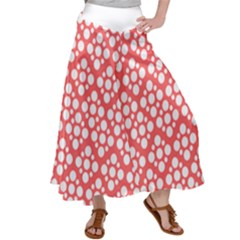 Floral Dot Series - Red And White Satin Palazzo Pants