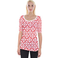 Floral Dot Series   Red And White Wide Neckline Tee by TimelessFashion