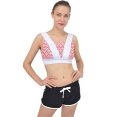 Floral Dot Series   Red And White V Back Sports Bra