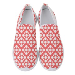 Floral Dot Series   Red And White Women s Slip On Sneakers by TimelessFashion