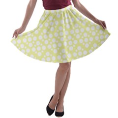 Floral Dot Series   Yellow And White A Line Skater Skirt