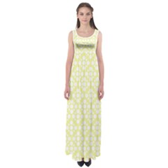 Floral Dot Series - Yellow And White Empire Waist Maxi Dress by TimelessFashion