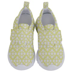Floral Dot Series   Yellow And White Kids  Velcro No Lace Shoes